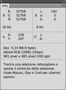 La lettura di un bianco RGB a 16 bit.