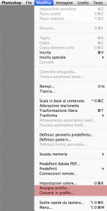 Il menu Modifica in Photoshop CS6.