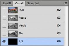 Creazione di un canale alfa temporaneo in Photoshop.
