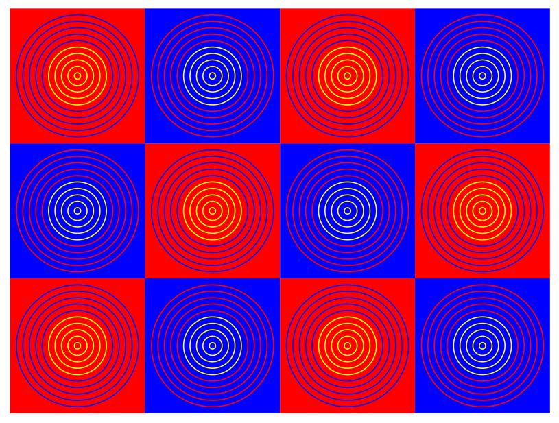 Gli anelli interni appaiono di colore diverso a seconda dei colori che li circondano. In realtà hanno lo stesso colore in termini numerici.