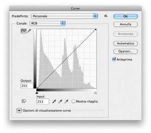 Una curva composita in RGB. Il punto in basso a sinistra viene spostato di due unità verso destra; quello in alto a destra di due unità verso sinistra.
