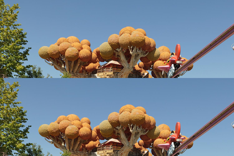 Sopra, la metà superiore dell'immagine originale. Sotto, la stessa sezione sottoposta alla curva di recupero del contrasto.