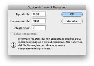 Le opzioni di salvataggio nel formato RAW di Photoshop.