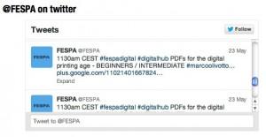 Il Tweet che annuncia il mio ultimo intervento del 23 maggio presso il Digital Hub.