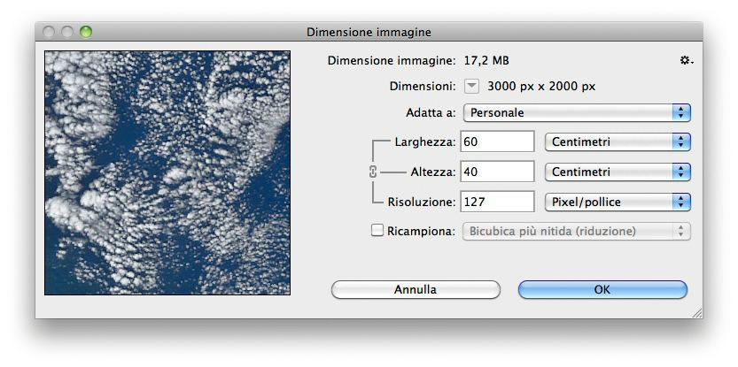 Un'immagine di 3.000 x 2.000 px risulta in un output pari a 60 x 40 cm se la risoluzione di output è pari a 127 ppi.