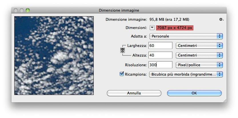 Il ricampionamento modifica le dimensioni in pixel dell'immagine.