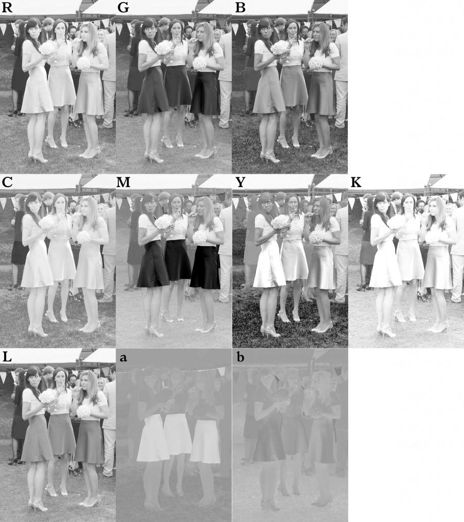 I dieci canali dell'immagine nei tre metodi colore principali. (Cliccare per ingrandire)