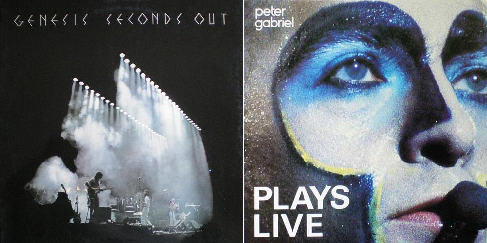 """Due tra le copertine più famose della storia del rock: """"Seconds Out"""" dei Genesis e """"Plays Live"""" di Peter Gabriel."""