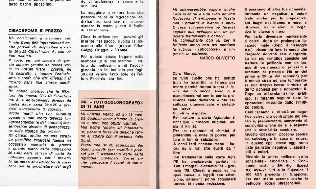 """Tutti Fotografi, settembre 1977: Renato Acri mi rispose nella rubrica """"Tuttocolore"""". Non avevo ancora compiuto tredici anni."""