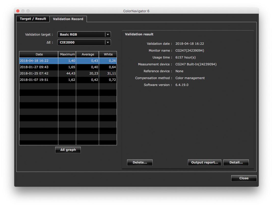 La schermata riassuntiva del DeltaE fornita dalla procedura di validazione